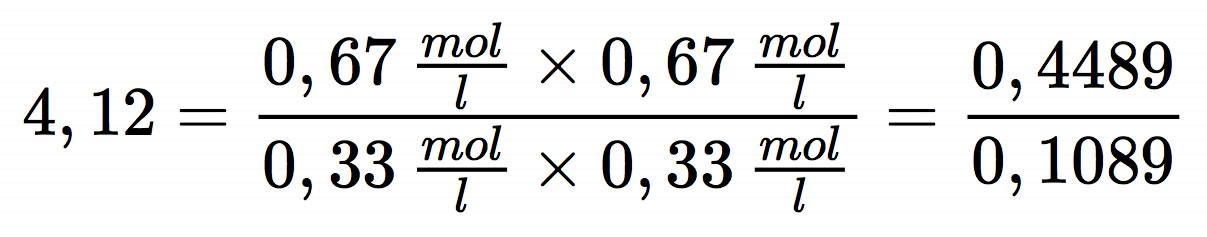 die gleichgewichtskonstante k hat einen wert grer als 1 das kann man so interpretieren das chemische gleichgewicht liegt auf der produktseite auf der - Massenwirkungsgesetz Beispiel